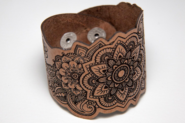 Mandala Leather Bracelet Laser Cut Mandala Bracelet Laser