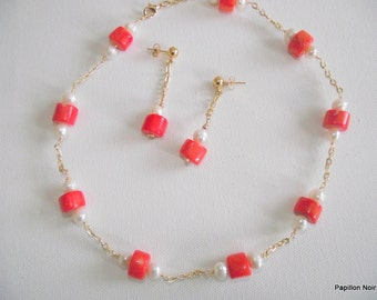 Necklace and Dangling Earrings in Peach Coral Nuggets