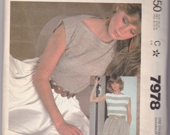 Vintage 1982 McCalls Top and Skirt Pattern