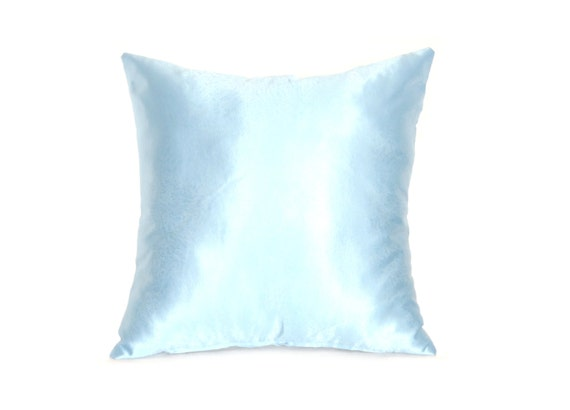 Sky Blue Pillowcase Satin Throw Pillow by AnnushkaHomeDecor