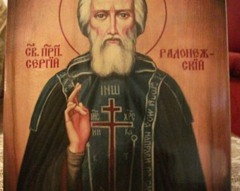 """St. Sergius of Radonezh , orthodox icon,hand-painted of hot colors directly on solid wood 18x24x2 см ( 7.0""""x 9.5""""x0.8"""" )"""