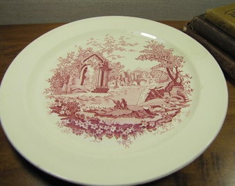Vintage English Abbey Red Transferware Dinner Plates - Set of Two (2)
