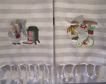 Kitchen tea towels, embroiderered tea towels, decorative kitchen tea towels