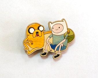 Wooden magnet Finn & Jake