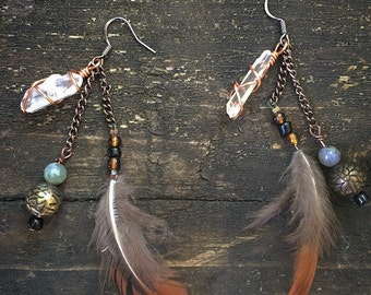 Feather & Quartz Handmade Earrings