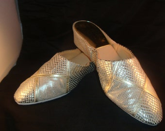 Vintage Jacques Levine Couture White/Silver/Gold Reptile Leather Slippers/Shoes Size 10