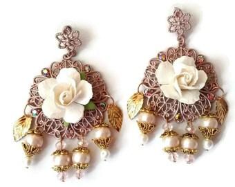 Pink Pearl Earrings, Large Pearl Earrings, Vintage Pearl Earrings, Vintage Earrings, Antique Pearl Earrings, Antique Earrings, Pink Earrings