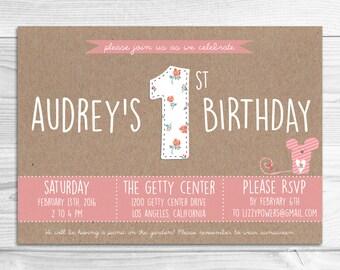 Whimsical Baby Birthday Invitation // DIY Printable Invitation // Whimsical Baby Birthday Invitation, Woodland Baby Birthday Invitation