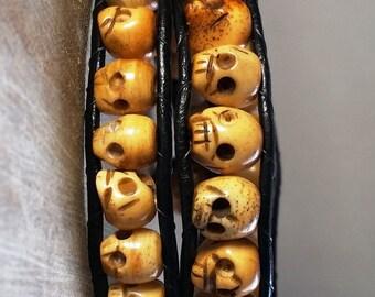 "Small Yak Bone Skulls Wrapped Bracelet, 16"""