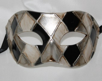 Black and Antique Silver Harlequin Masquerade Mask for Masked Ball