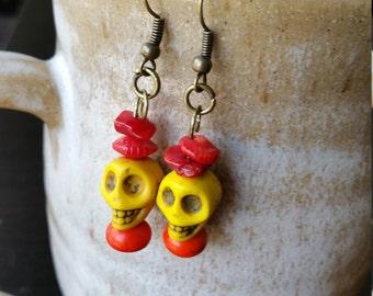 Yellow Sugar Skull Earrings