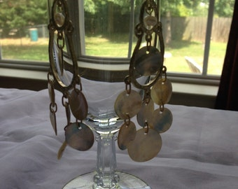 Mother Of Pearl And Gold Finish Dangle Drop Earrings