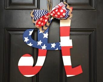 Patriotic American Flag Initial door Hanger