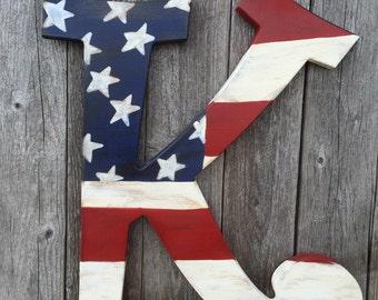 Rustic Antiqued Patriotic American Flag Initial door Hanger