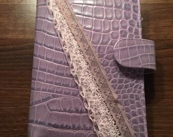 Gorgeous lace/ribbon filofax charm - Lilac