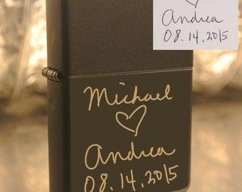 Personalized or Handwritten Zippo Groomsman Christmas Gift Custom Unique Lighter Present Husband Boyfriend Dad