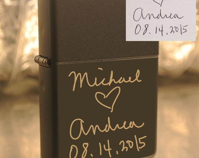 Personalized or Handwritten Zippo Groomsman Bridesmaid Gift Custom Unique Lighter Present Husband Boyfriend Dad