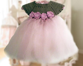 Baby Tutu Dress with flowers and pearls, Crochet  Pattern. Wedding Flower girl dress. Christmas Dress