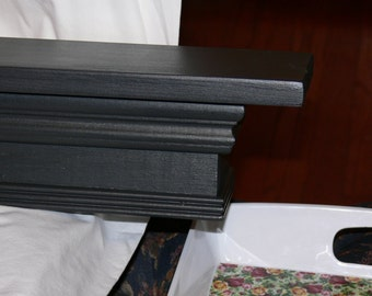 "48"" Handmade Primitive Black Mantel Shelf, Floating, French Country"