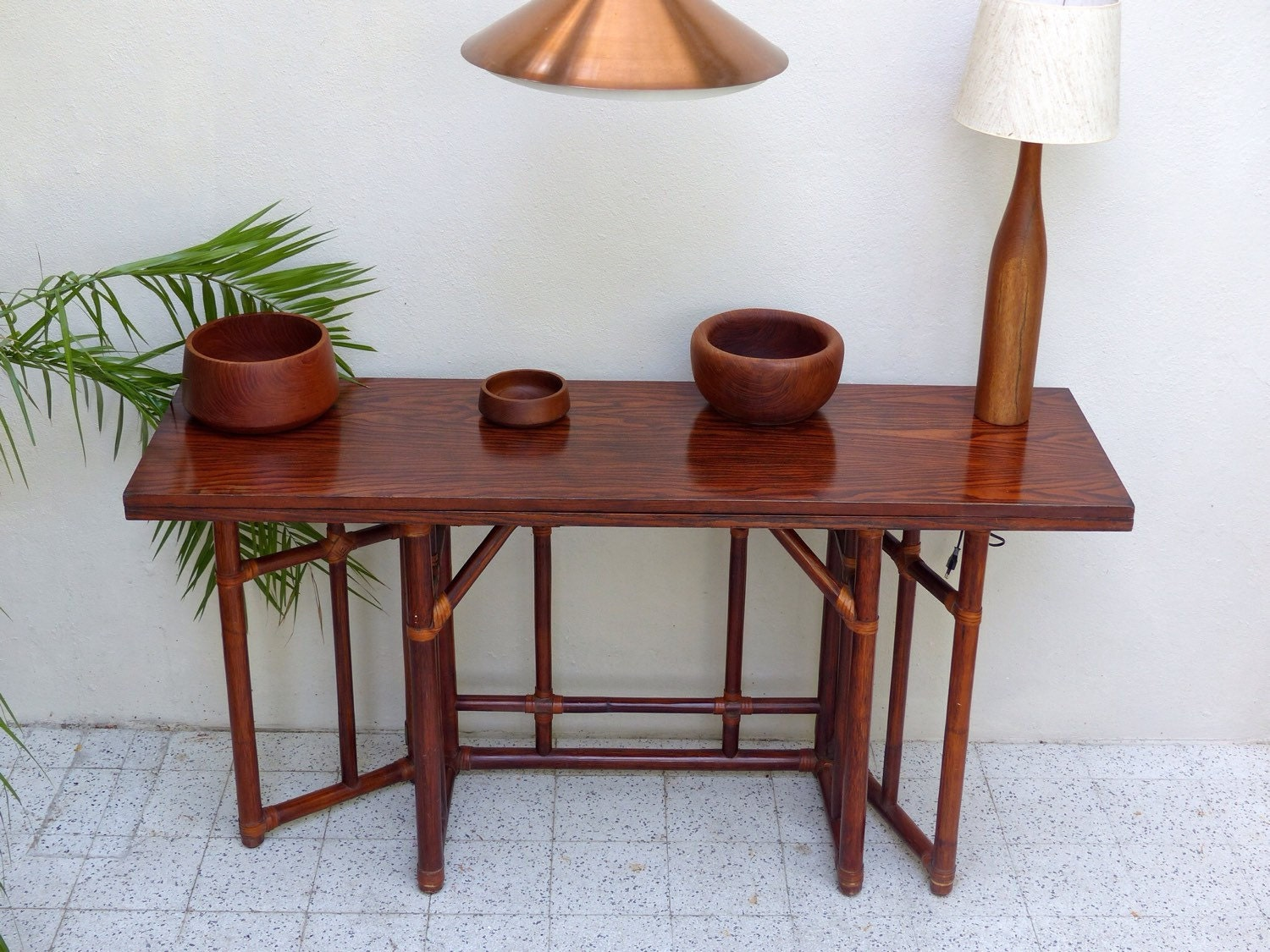 Table scandinave vintage en teck haute juice - Table haute cocktail scandinave ...