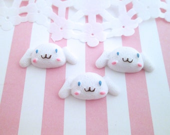 White Puppy Head Cabochons, Cute Kawaii Cabochons, #625B