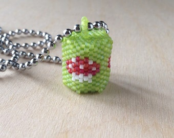 Red Toadstool Pendant Beaded Barrel on 26 inch Ball Chain