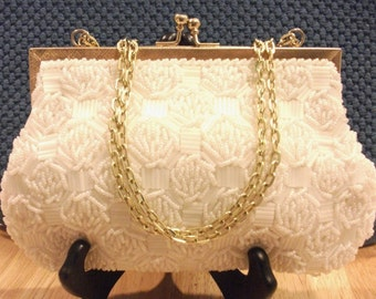 Vintage White  Beaded Evening Bag.  Amazing!
