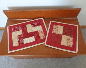 Casserole mat, Insulated casserole mat, Oversized hot pad,  Quilted trivet, Burgundy Hot Pads, Casserole trivet, Hot pad  Item #164