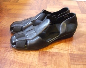 Black leather sandals free shipping
