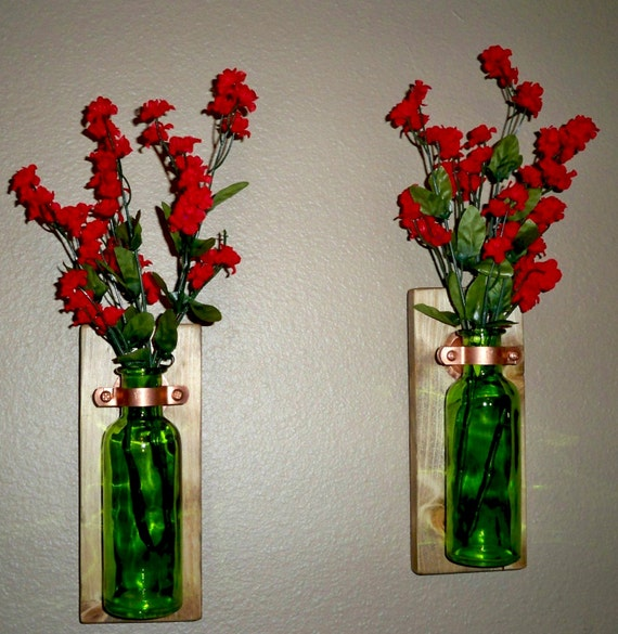 Colored glass bottle rustic wall decor kitchen decor for Colored bottles for decorations