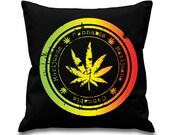 Cannabis Leaf Rasta Colours 18 x 18 Filled Sofa Throw Cushion
