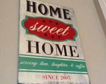 Home Sweet Home Vintage Inspired Wood Sign