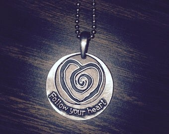 Follow Your Heart/Embrace Your Journey Necklace MADE IN USA Labyrinth