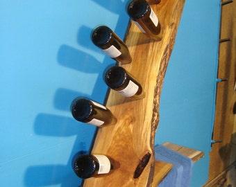 Wild Cherry Rustic Live Edge Wine Rack