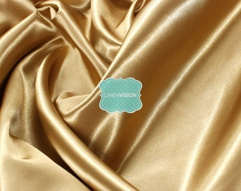 "Fabric by the Yard - Shiny Bridal Satin Fabric - Medium Weight 100% Polyester 60"" Wide Satin Fabric - Gold"