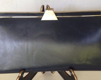 1950's Millay Clutch Navy Faux Leather with Clasp ~ Evening Purse ~ Vintage Night on the Town Bag ~ Hollywood Glam ~