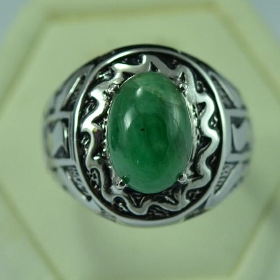 Sterling Silver Natural Berly Emerald Men Ring Antique Design