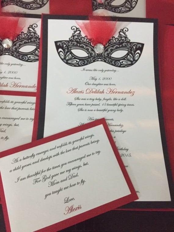 Handmade Masquerade Invitations w/ Insert Card