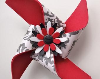 Cane/Walker Accessory - Fleur de Lis Red and Black Pinwheel - snap on
