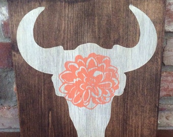 Cowgirl, country girl room decor. Steer skull with flower. Hand painted wood sign