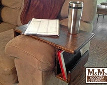 Couch Tray ~ Handmade Custom fit Wood Sofa Arm Rest Caddy Table TV Tray