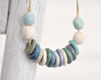 Ceramic necklace ,Beads,Jewelry, Blue,White,Turquoise,Made to order