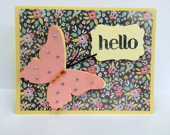 Beautiful Yellow and Melon Butterfly Card #34