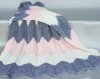 Hand Knitted Chevron Baby Girl Blanket, Super Soft blanket/afghan