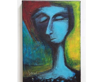 Outsider Original Painting, Ken Law, Stretched Canvas, Ready to Hang, Painting is 6.75 x 10 inches, Gallery Stretched, Sides Painted