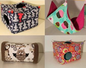 Rat Hammock Grab Bag Hanging Ferret Cube Guinea Pig Cozy Chinchilla Cage Accessories Degu Toys Flannel Fleece Cotton - Large Surprise