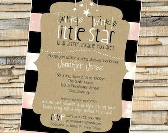 Twinkle Twinkle Baby Shower Invite - Little Start Invite  - DIY Printable File