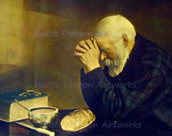 "Eric Enstrom ""Grace"" 1918 Reproduction Digital Print  Man Praying Over Bread  Wall Hanging"