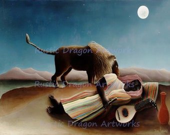 "Henri Rousseau ""The Sleeping Gypsy"" c1897 Reproduction Digital Print Mandolin Player Lion Moonlight Wall Hanging"