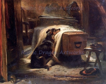 "Sir Edwin Henry Landseer ""The Old Shepards Chief Mourner"" 1837 Reproduction Digital Print Black Horse Dog"